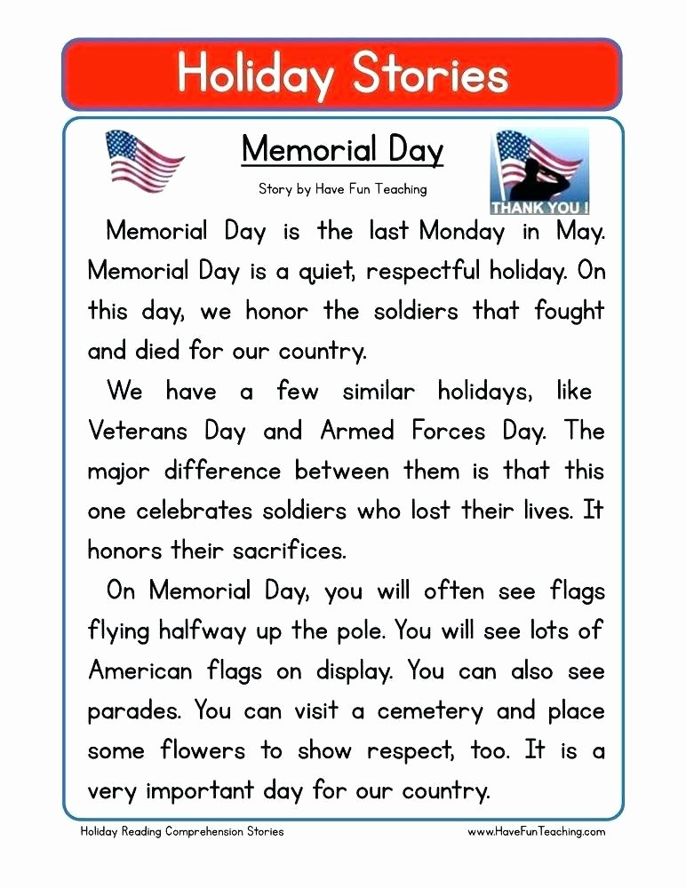 Memorial Day Reading Comprehension Second Grade Reading Prehension Worksheet Holiday Stories