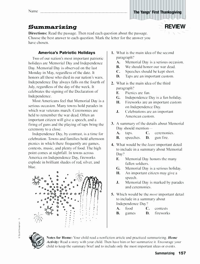 Memorial Day Reading Comprehension Worksheets 3rd Grade Reading Summary Worksheets