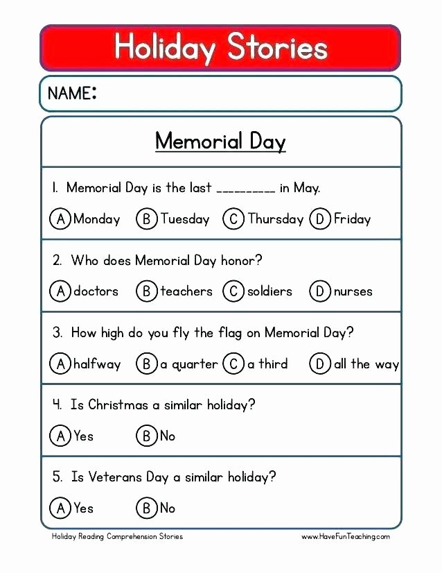 Memorial Day Reading Comprehension Worksheets Worksheets Grade Worksheet Reading Free Prehension