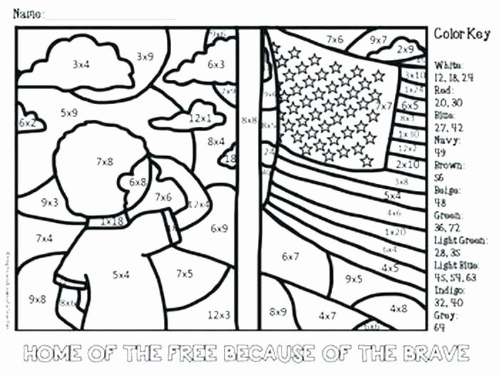 Memorial Day Worksheets Free Color by Number Multiplication – Johnnyknives