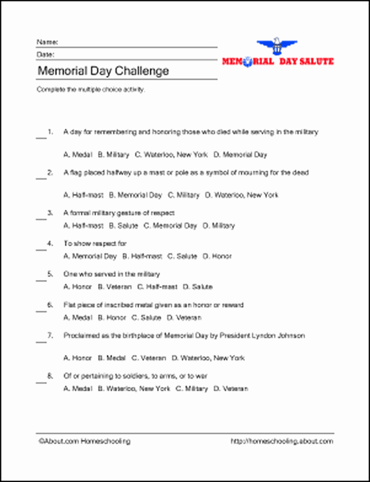 Memorial Day Worksheets Free Learn About Memorial Day with Free Printables