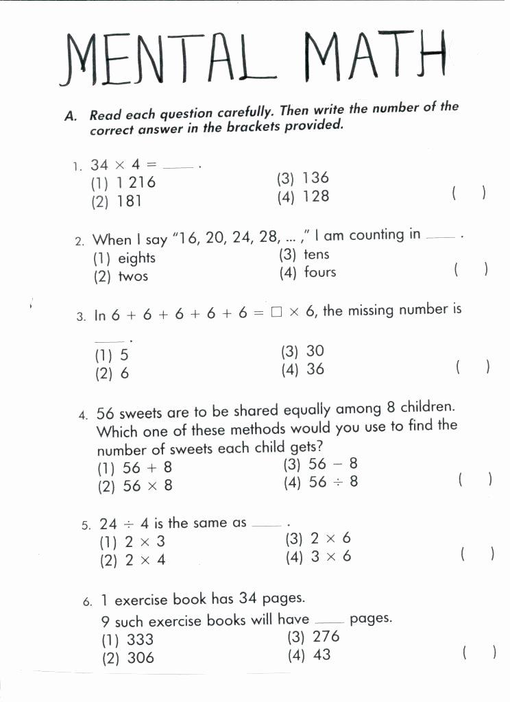 Mental Math Worksheets Grade 6 2nd Grade Mental Math Worksheets Addition Subtraction