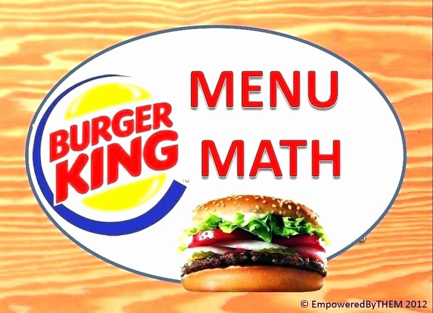 Menu Math Printable Free Menu Math Worksheets