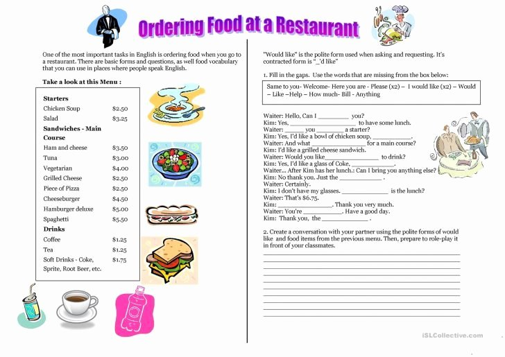 Menu Math Printable Free Printable Restaurant Menu Template