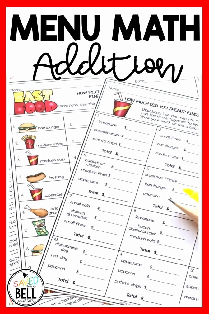 Menu Math Printable Menu Math Worksheet Cmediadrivers Worksheets Restaurant Free