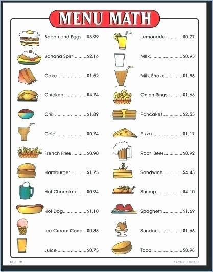 Menu Math Worksheets Best Of Menu Math Worksheets Free S Project Mcdonalds