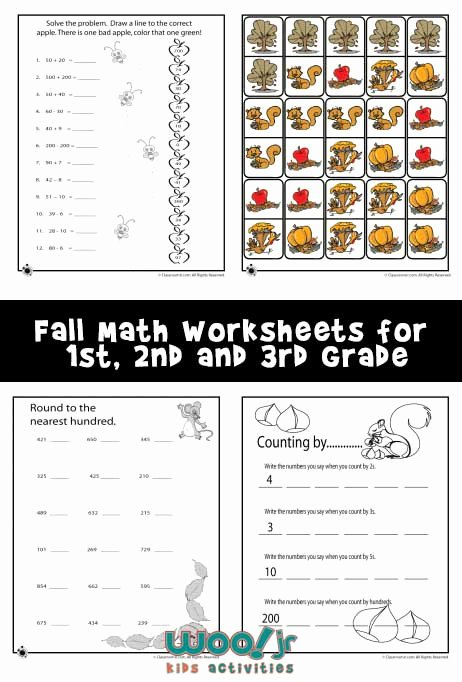 Menu Math Worksheets Printable Fall Math Worksheets for 1st 2nd & 3rd Grade