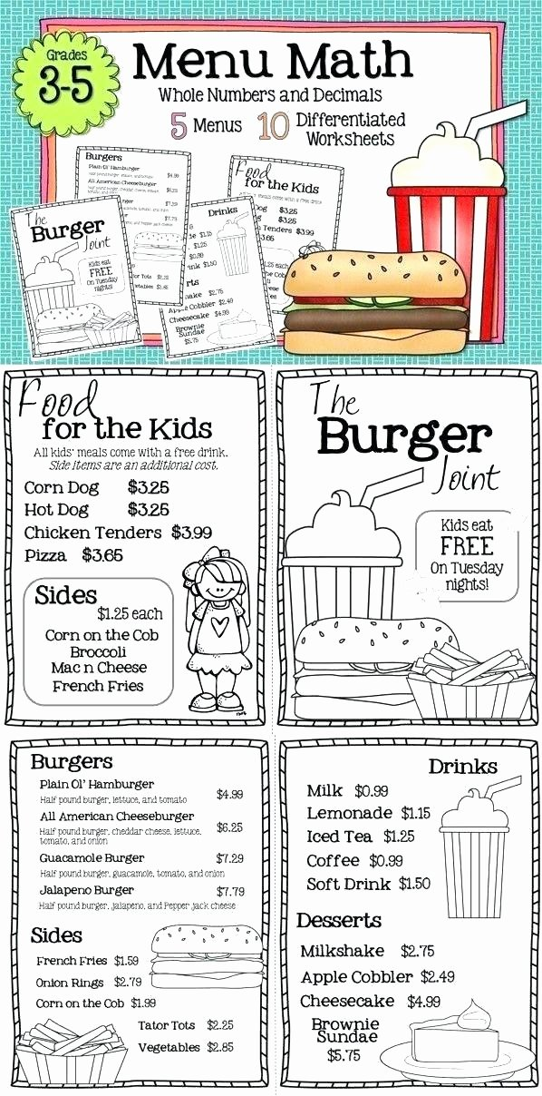 Menu Math Worksheets Printable Free Menu Math Worksheets Restaurant Math Worksheets