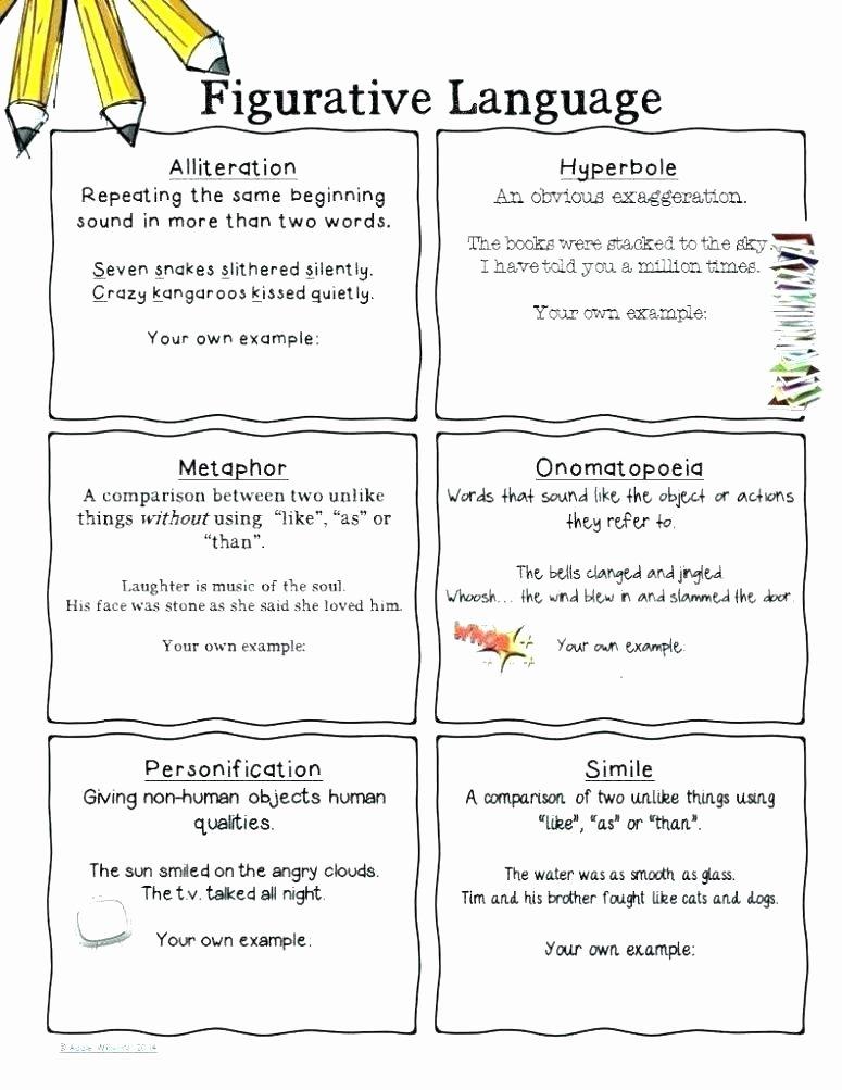Metaphor Worksheet Middle School Free Personification Worksheets