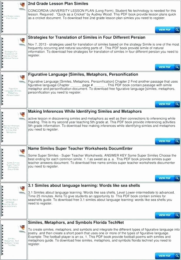 Metaphor Worksheet Middle School Personification Worksheets for Kids