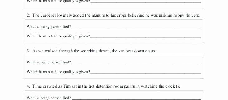 Metaphor Worksheet Middle School Personification Worksheets for Middle School Simile and