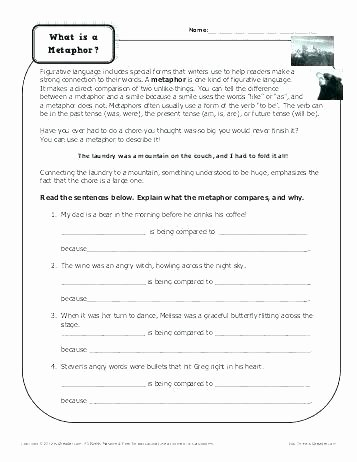 Metaphor Worksheet Middle School Personification Worksheets with Answers