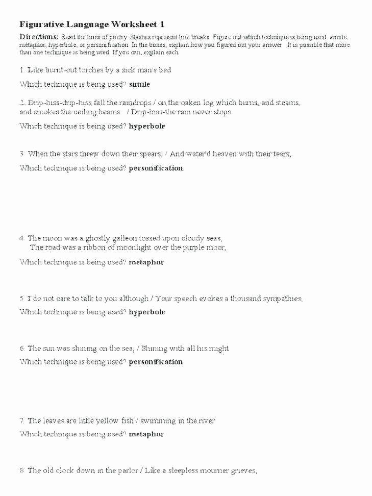 Metaphor Worksheet Middle School Simile and Metaphor Worksheets 5th Grade