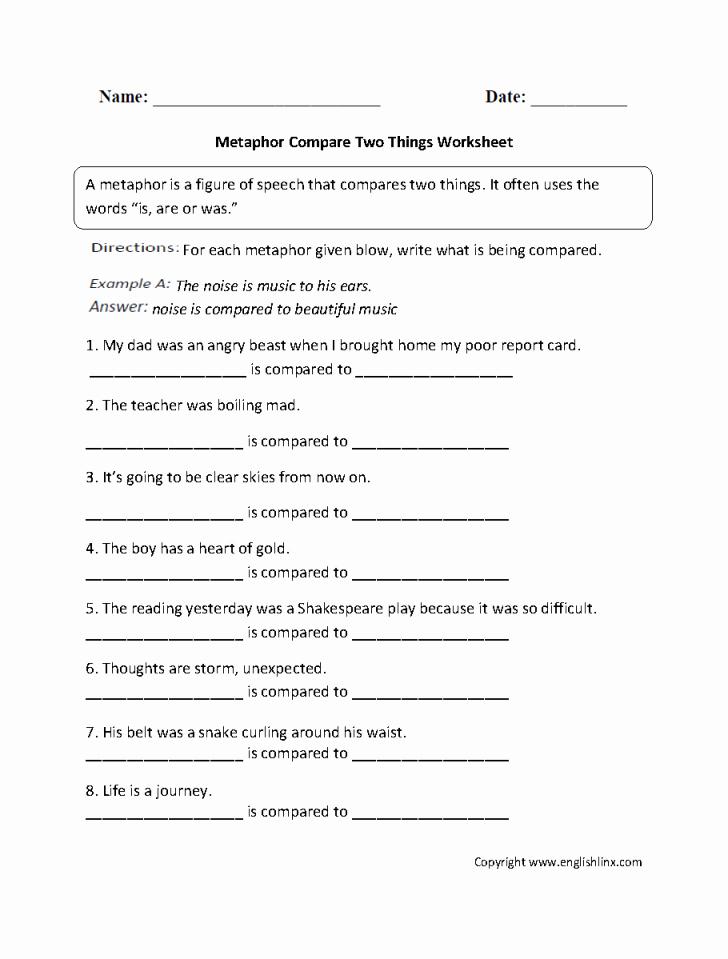 Metaphor Worksheet Middle School Worksheet Ideas Tremendous Metaphor Worksheets Pdf Name