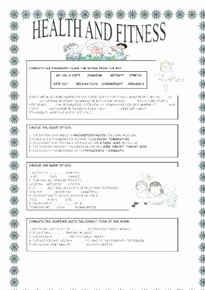 Middle School Health Worksheets Pdf Elementary Health Worksheets Free