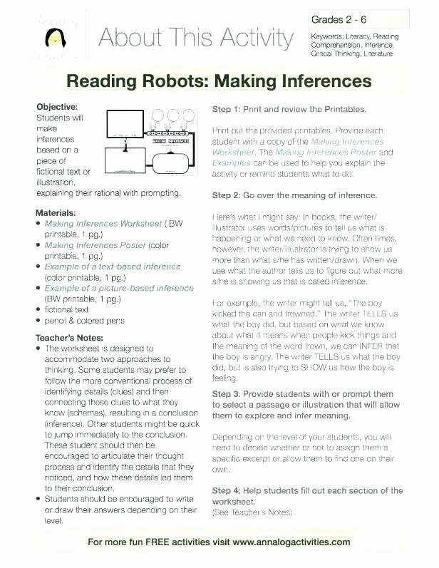 Middle School Inference Worksheets Inference Worksheets Grade 2