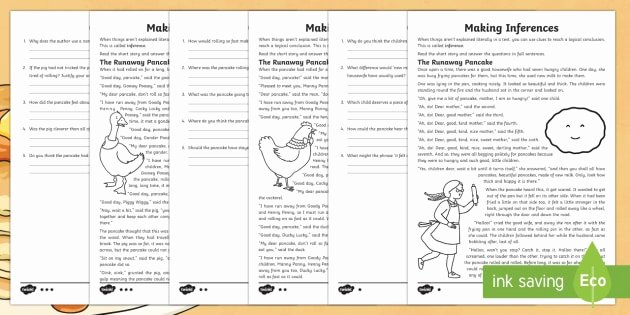 Middle School Inference Worksheets Ks2 Pancake Day Inference Worksheet Worksheet Ks2