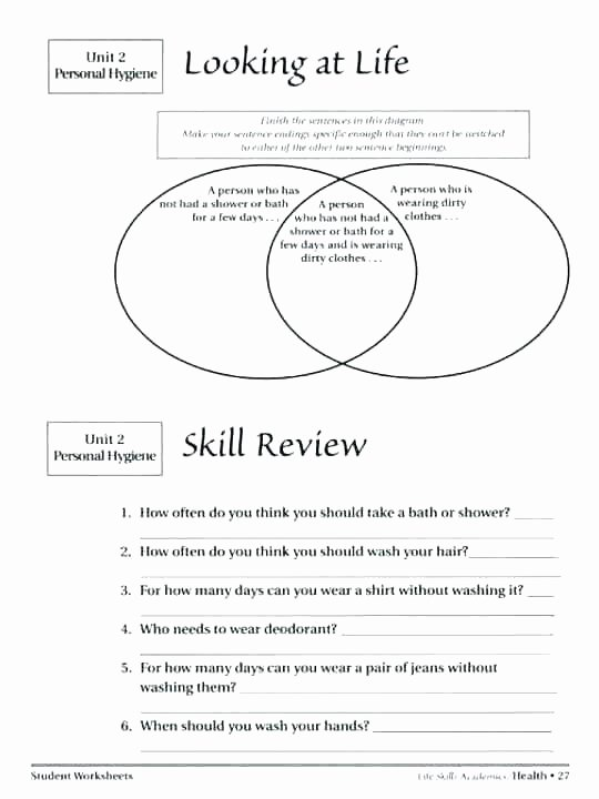 Middle School Life Skills Worksheets 4th Grade Health Printable Worksheets