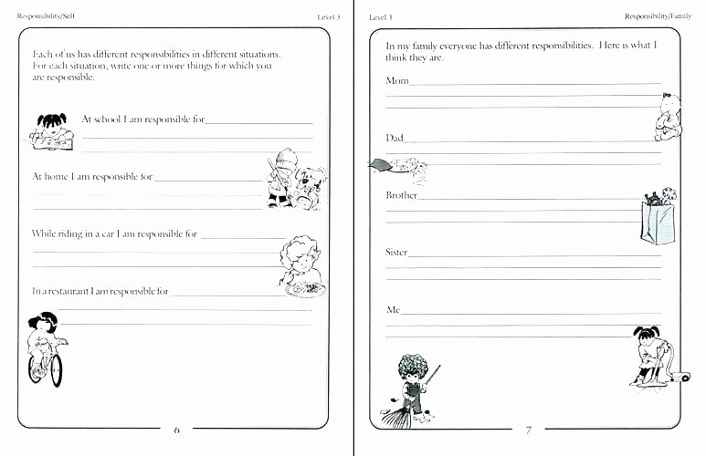 Middle School Life Skills Worksheets Responsibility Worksheets Life Skills Worksheets for
