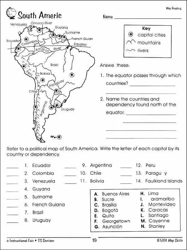 Middle School Map Skills Worksheets Map Worksheets Pdf