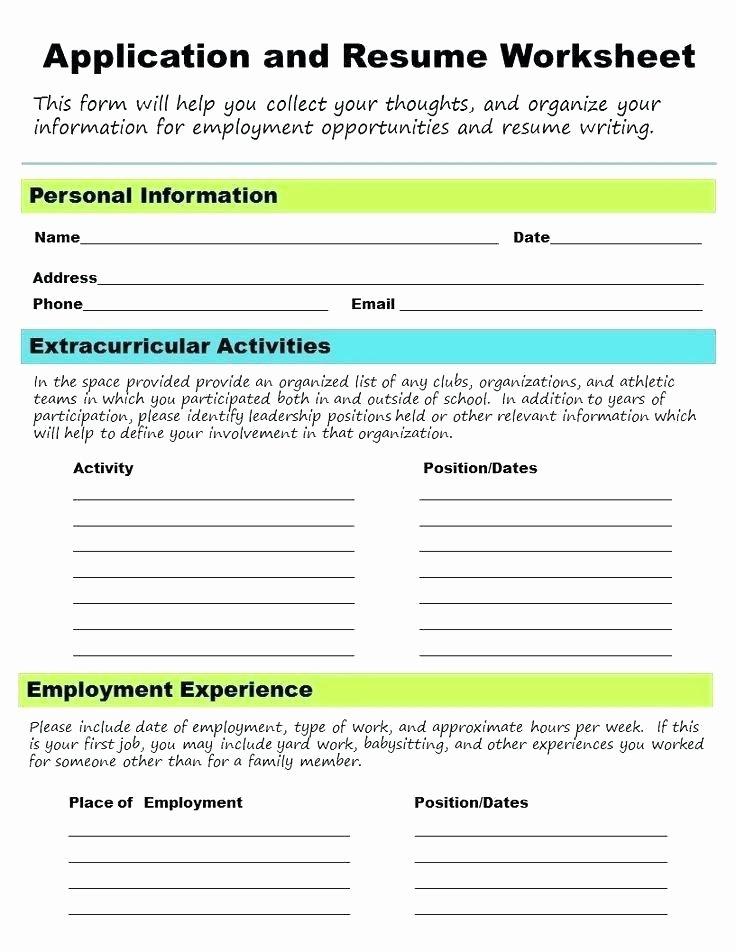 Middle School Resume Worksheet organizational Skills Worksheets High School Students