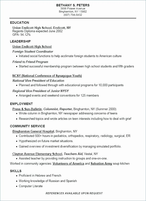 Middle School Resume Worksheet Resume Worksheet for High School Students Awesome Middle