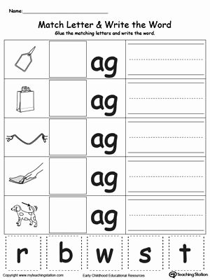 Middle sound Worksheet Ag Word Family Match Letter and Write the Word