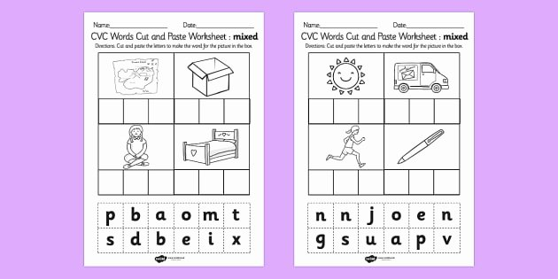Middle sound Worksheet Cvc Words Cut and Paste Worksheet Worksheets Mixed Cvc