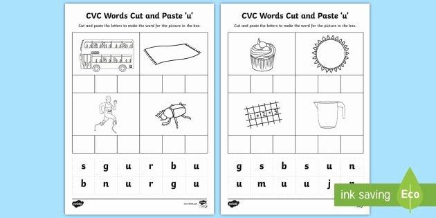 Middle sound Worksheet Cvc Words Cut and Paste Worksheets U Cvc Worksheets Cvc