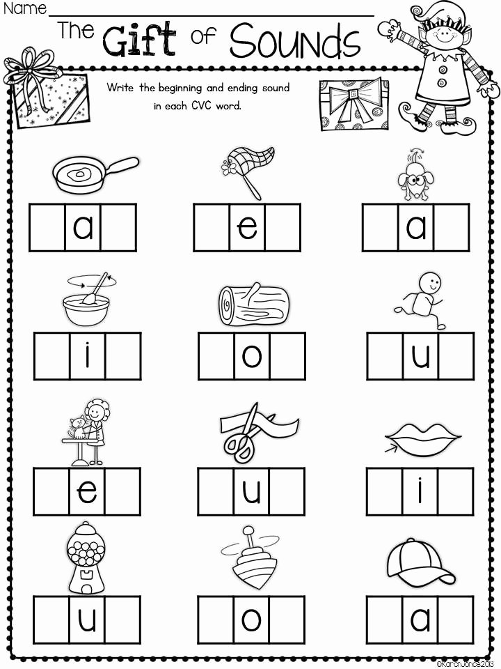 Middle sound Worksheet Elf Activities and Printables Christmas Activities