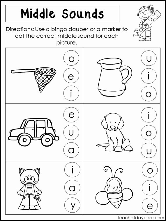 Middle sound Worksheets 10 Printable Middle sounds Worksheets Preschool 1st Grade Phonics and Literacy