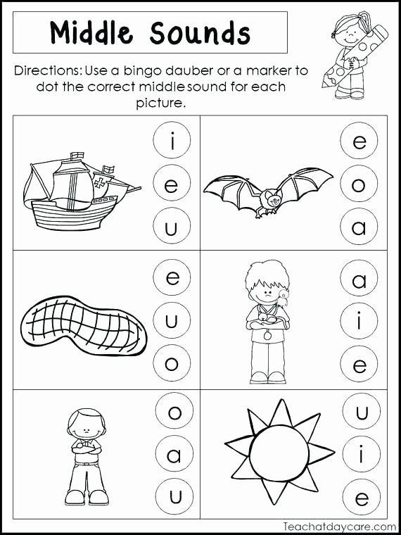 Middle sound Worksheets Kindergarten Middle sound Worksheets Middle sounds