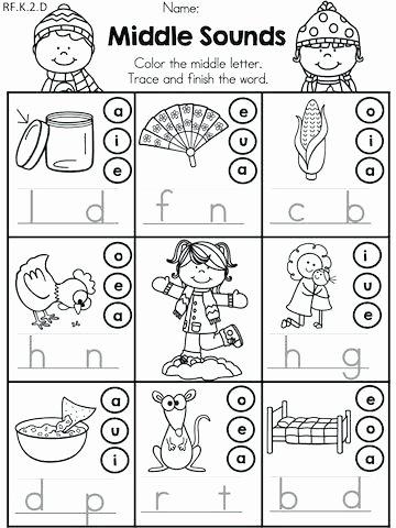 Middle sound Worksheets Medial sound Worksheets Free Collection Kindergarten