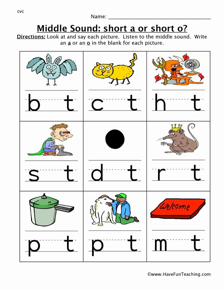 Middle sound Worksheets Middle sounds A or O Worksheet
