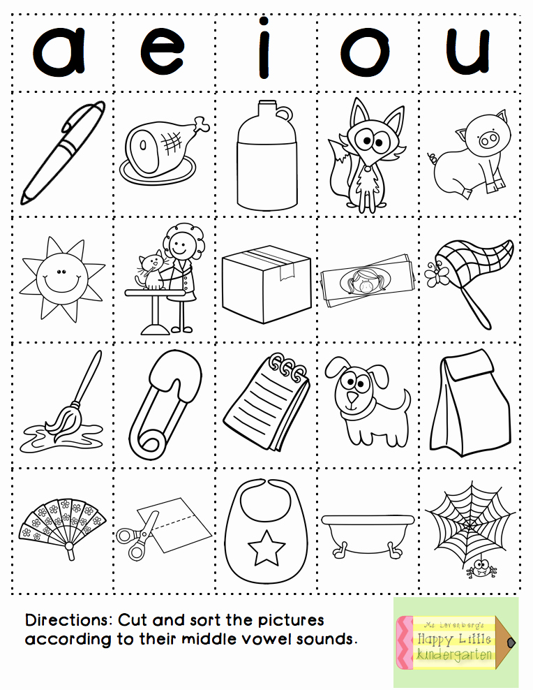 Middle sounds Worksheets for Kindergarten Fun with Phonics Word Work Style Tk September