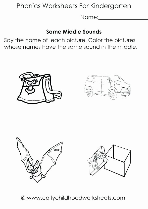 Middle sounds Worksheets for Kindergarten Kindergarten Worksheets Words Medial Letter sounds Middle