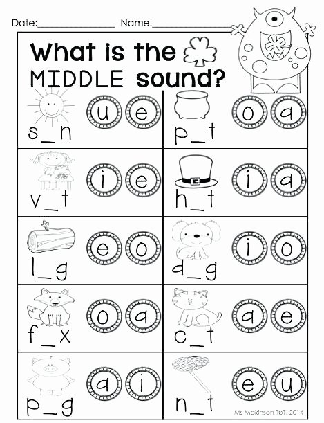 Middle sounds Worksheets for Kindergarten Medial sound Worksheets for Kindergarten