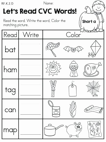 Middle sounds Worksheets for Kindergarten Worksheets Kindergarten Free Phonics Worksheets Words