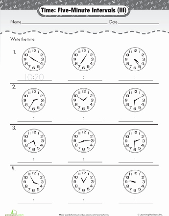 Minute Math Worksheets 1st Grade Telling Time to Five Minutes Emma Lily