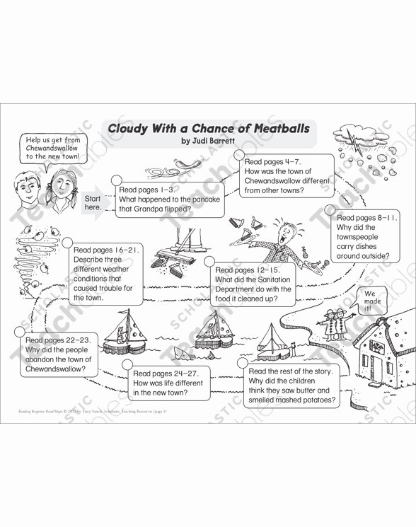 Miss Nelson is Missing Printables Cloudy with A Chance Of Meatballs Reading Response Map