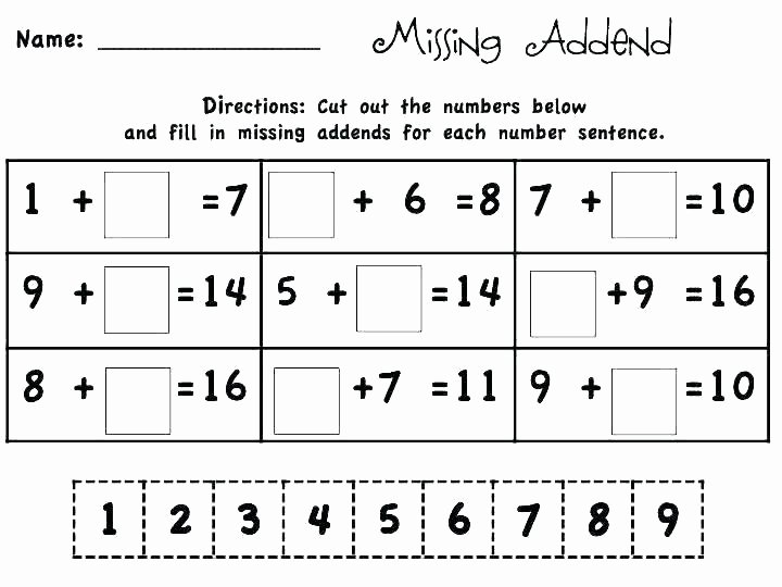 Missing Addend Worksheets 1st Grade Addition Grade Missing Addend Worksheets Number for First