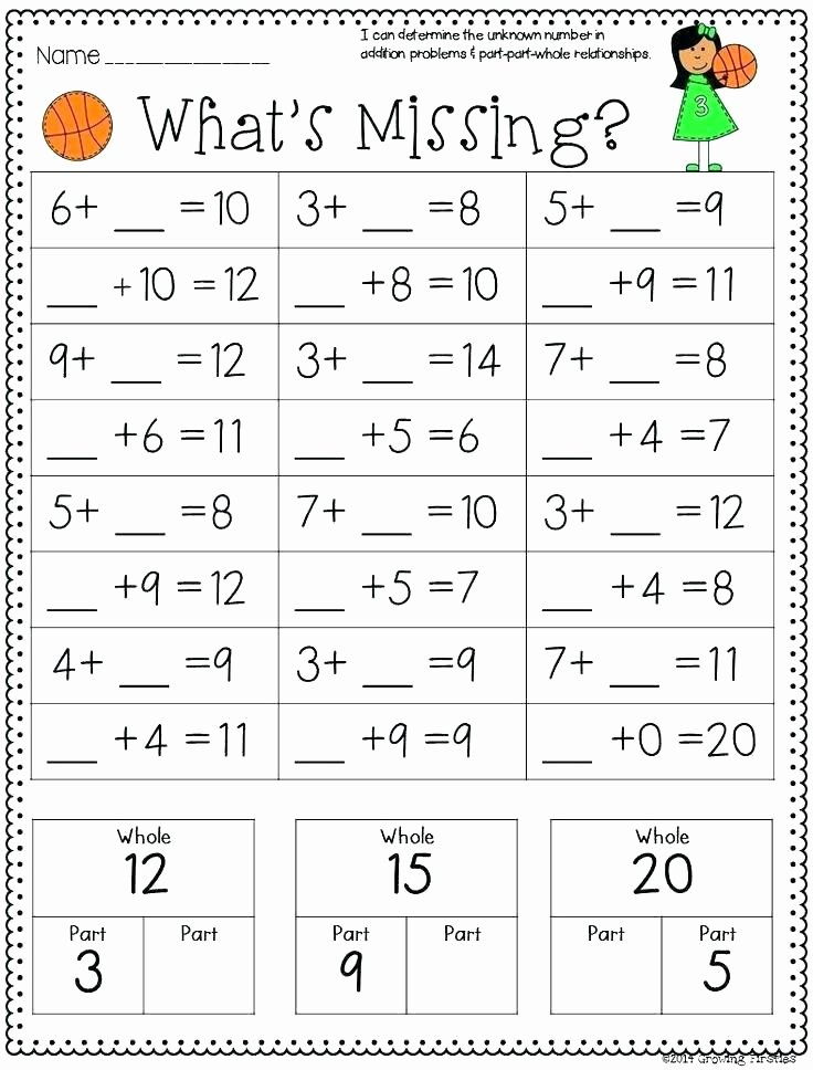 Missing Addend Worksheets 1st Grade Free Part Part whole Worksheets