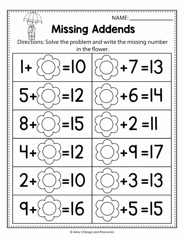 Missing Addend Worksheets 1st Grade Missing Addend Word Problems Worksheets