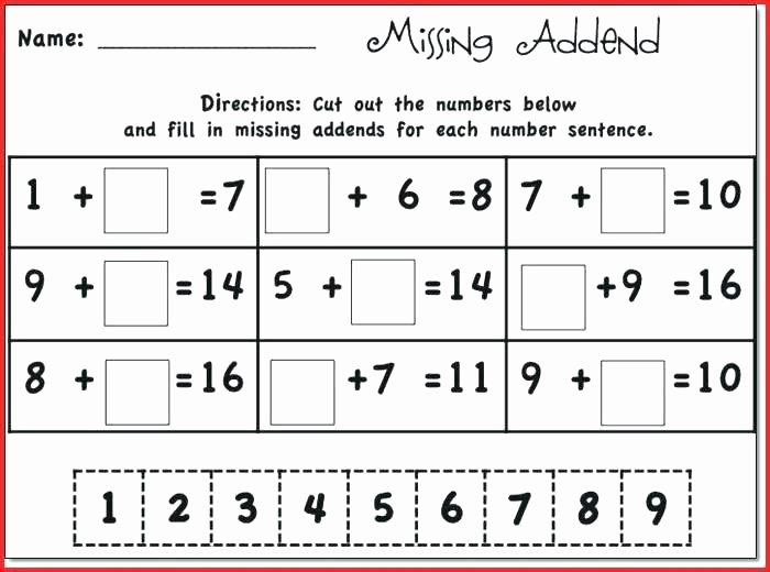 Missing Addend Worksheets 1st Grade Word Problems Worksheets 1st Grade Math Kindergarten Math