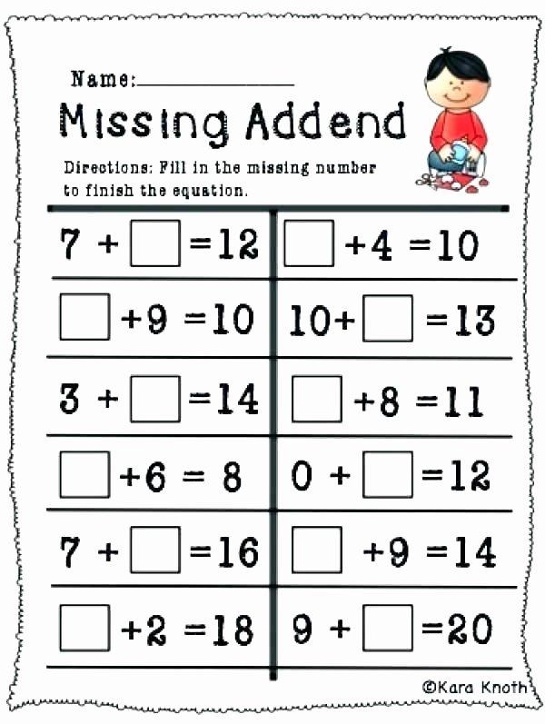 Missing Addend Worksheets First Grade 3 Addend Addition Worksheets 1st Grade