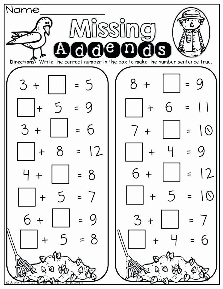 Missing Addend Worksheets First Grade Free Grade Worksheet Addition Drills Missing Addend Find the