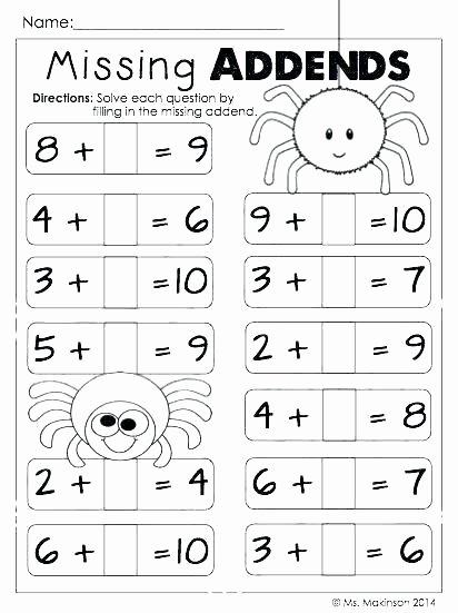 Missing Addend Worksheets Kindergarten 7 Addition Grade Printable First Math Worksheets Adding 1 5 Wor