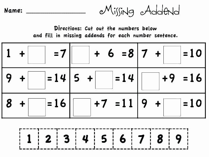 Missing Addend Worksheets Kindergarten Free Missing Addend Worksheets Printable for Mi