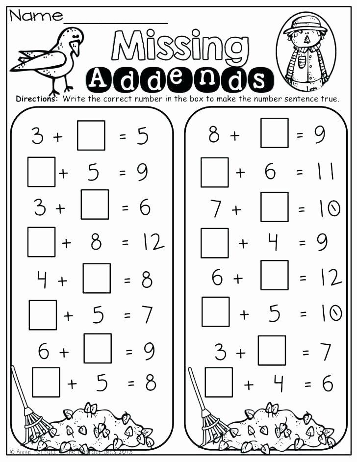 Missing Addend Worksheets Kindergarten Missing Number Addition Worksheets 4 Digit Missing Number