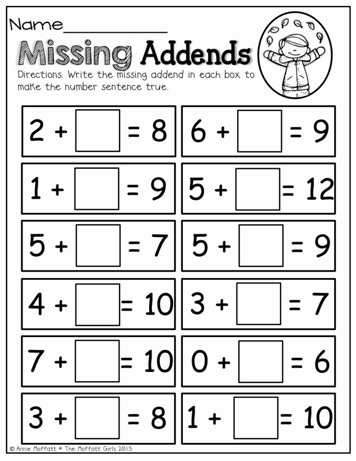 Missing Addend Worksheets Kindergarten Worksheet Ideas Missing Addend Worksheets Worksheet Ideas